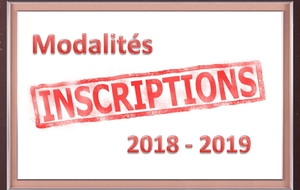 Inscriptions 2018 - 2019