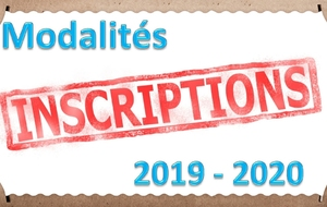 Inscriptions 2019 - 2020